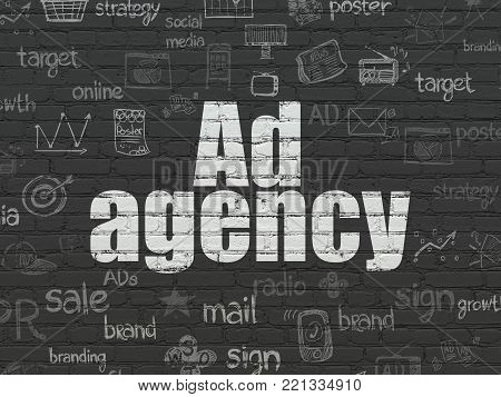 Marketing concept: Painted white text Ad Agency on Black Brick wall background with  Hand Drawn Marketing Icons