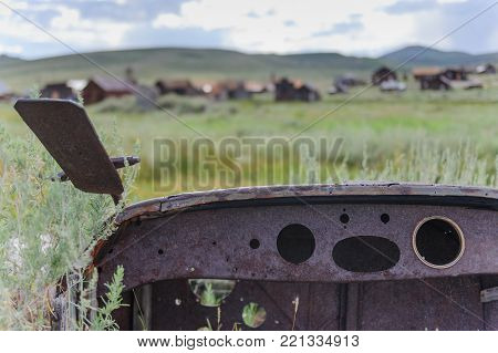 An old abandonded car is left in the American Ghost Town of Bodie, on the California Nevada Border