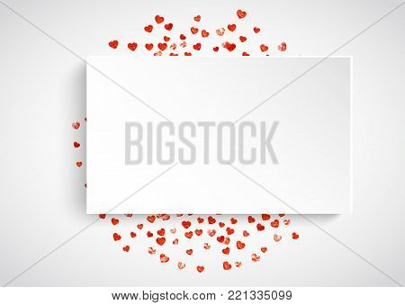 Heart paper frame with red glitter. February 14th day. Vector confetti with heart paper frame. Festive white banner with hand drawn texture. Love theme for flyer, special business offer, promo