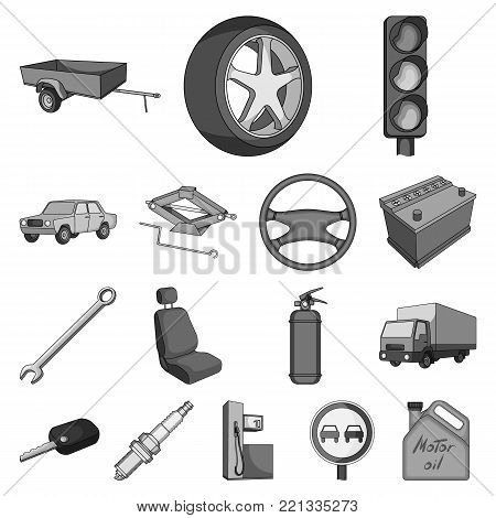 Car, vehicle monochrome icons in set collection for design. Car and equipment vector symbol stock  illustration.
