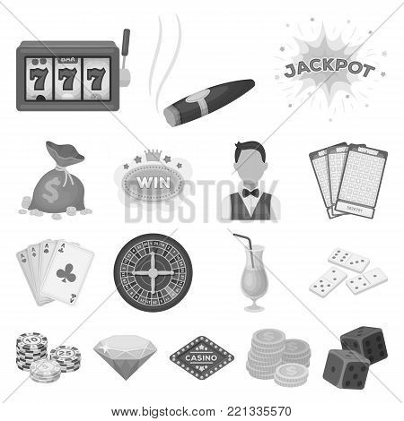 Casino and gambling monochrome icons in set collection for design. Casino and equipment vector symbol stock  illustration.