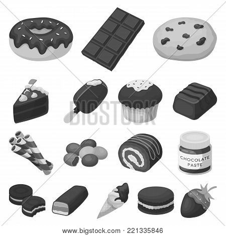 Chocolate Dessert monochrome icons in set collection for design. Chocolate and Sweets vector symbol stock  illustration.