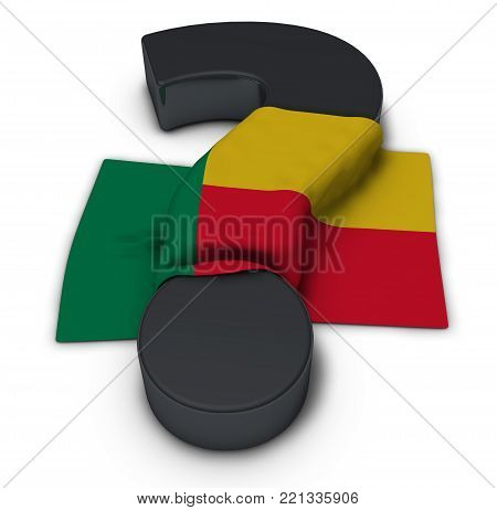 question mark and flag of benin - 3d illustration