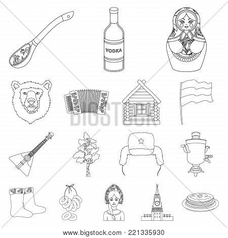 Country Russia, travel outline icons in set collection for design. Attractions and features vector symbol stock  illustration.