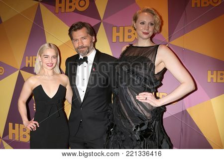 LOS ANGELES - JAN 7:  Emilia Clarke, Nikolaj Coster-Waldau, Gwendoline Christie at the HBO Post Golden Globe Party 2018 at Beverly Hilton Hotel on January 7, 2018 in Beverly Hills, CA