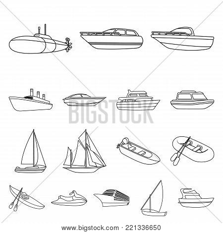 Water and sea transport outline icons in set collection for design. A variety of boats and ships vector symbol stock illustration.