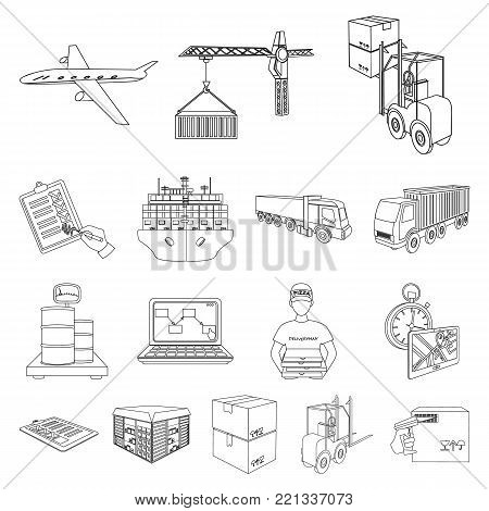 Logistics and delivery outline icons in set collection for design. Transport and equipment isometric vector symbol stock  illustration.