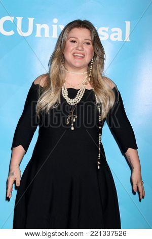 LOS ANGELES - JAN 9:  Kelly Clarkson at the NBC TCA Winter Press Tour at Langham Huntington Hotel on January 9, 2018 in Pasadena, CA