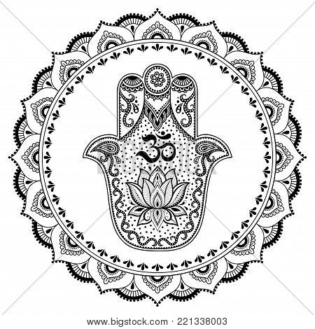 Hamsa Hand Drawn Symbol In Mandala. Mehndi Style. Decorative Pattern In Oriental Style. For Henna Ta
