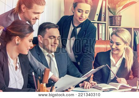 Happy group business people in office. Mean woman is the best. Women offered better solution than men. Rivalry in team.