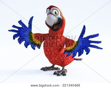 3D rendering of cartoon parrot smiling and looking very happy with its wings out. White background.