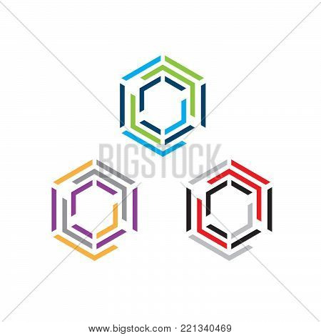 Hexagon - set of vector logo concept illustration. Hexagon geometric polygonal logo. Hexagon abstract logo. Vector logo template. Design element.