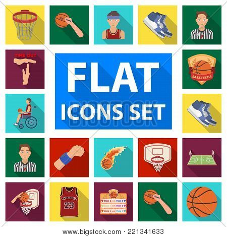 Basketball and attributes flat icons in set collection for design.Basketball player and equipment vector symbol stock  illustration.