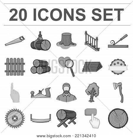 Sawmill and Timber monochrome icons in set collection for design. Hardware and Tools vector symbol stock  illustration.