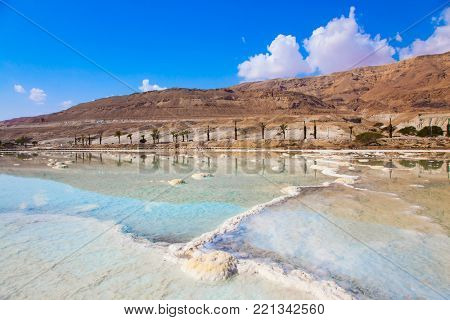 Hot summer day on the Dead Sea. The concept of ecological and medical tourism. The evaporated salt has developed into fantastic patterns