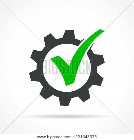 Illustration of checkmark in gear icon on white background