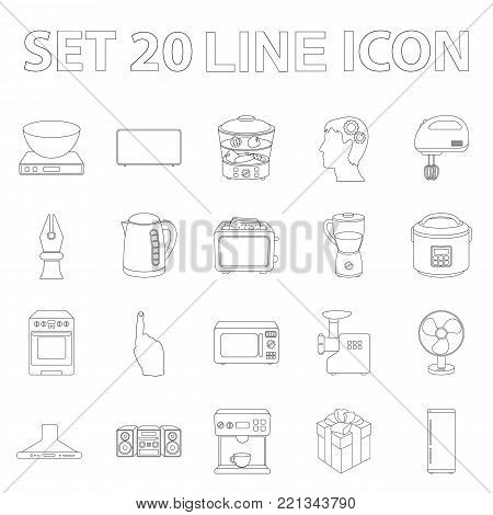 Types of household appliances outline icons in set collection for design.Kitchen equipment vector symbol stock  illustration.