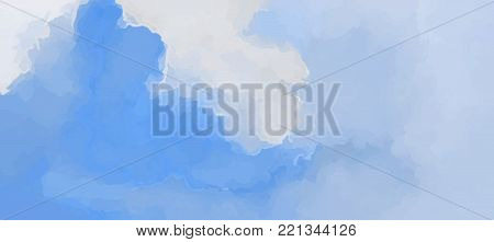 Hand painted watercolor blue sky and clouds, abstract watercolor background, vector illustration