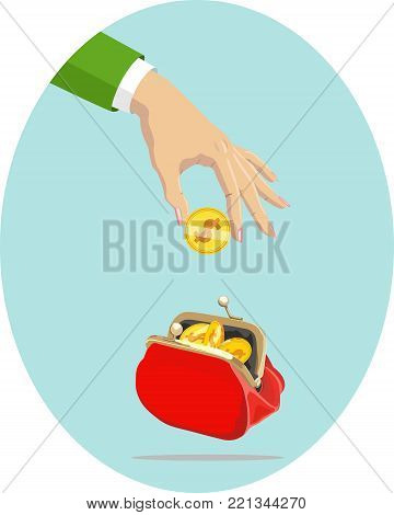 Vector image of gold coin in female hand over an unbuttoned red purse with coins. Money.