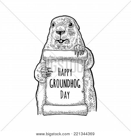 Marmot holding poster. Happy Groundhog Day letterung. Engraving vintage vector black illustration. Isolated on white background. Hand drawn design element for label and poster