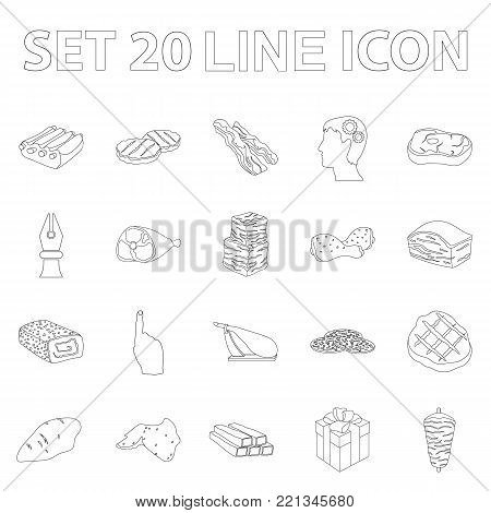 Different meat outline icons in set collection for design. Meat product vector symbol stock  illustration.