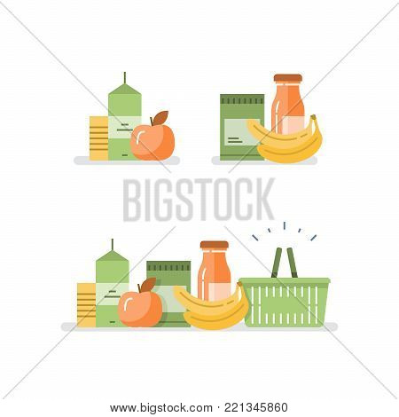Grocery food and drink, pile of products, consumption concept, retail store loyalty program, supply and demand, food choice abundance, vector flat illustration