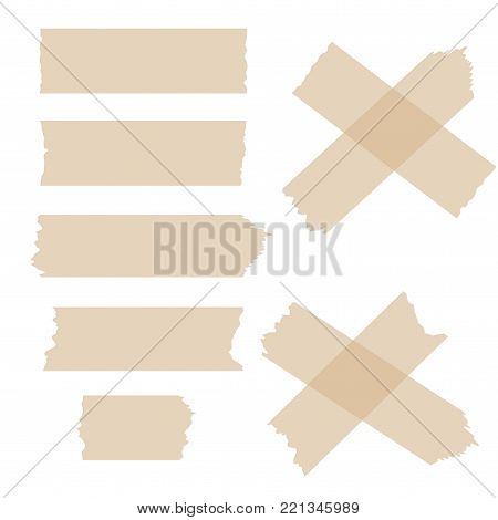 Set of various adhesive tape pieces on white background. Vector