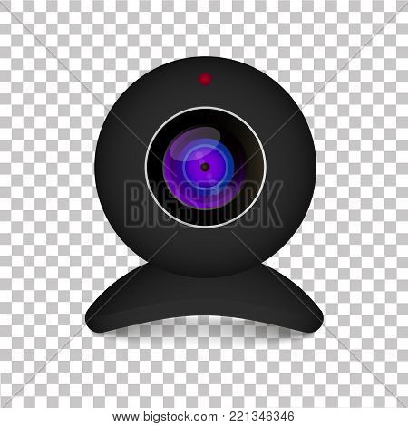 Realistic black web cam on transparent background. Vector