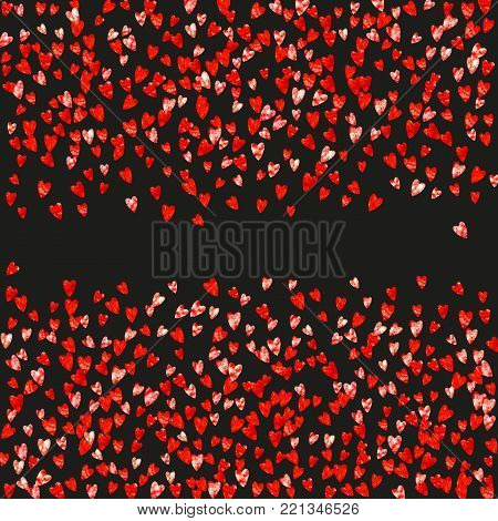Valentine background with red glitter hearts. February 14th day. Vector confetti for valentine background template. Grunge hand drawn texture. Love theme for gift coupons, vouchers, ads, events.