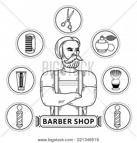 vector flat barber shop concept, brutal hipster man with beard, shaving accesorries scissors comb shaving brush, barber pole, hairdresser spray, gel. Isolated monochrome illustration, white background
