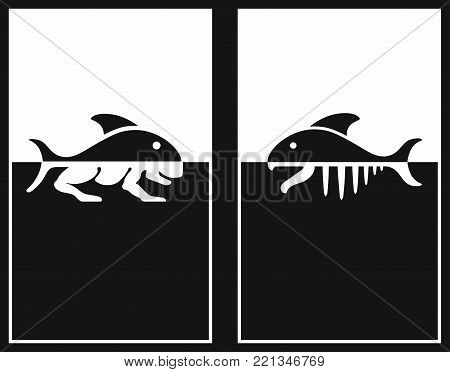 Creation Sign. The theory of evolution of Lamarck. DNA concept. Symbol of science, education, medical technologies.  transformation Fish in animals. Vector icons.