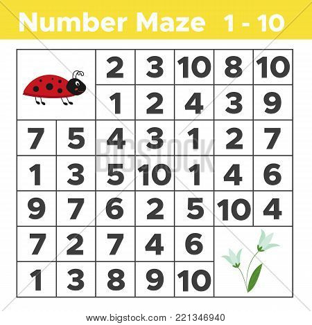 Number maze, math puzzle game for children. Help ladybug find spring flowers. Counting from one to ten. Worksheet for preschool and school kids. Vector illustration.