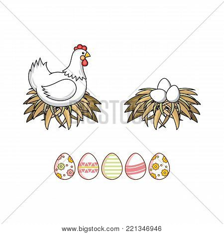 vector flat white colored hen chicken, eggs in hay nest and decorated easter spring festive eggs icon set. Isolated illustration on a white background. Farm poultry chicken