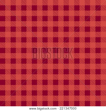 Red seamless tablecloth Vector.   Seamless traditional tablecloth pattern Vector.