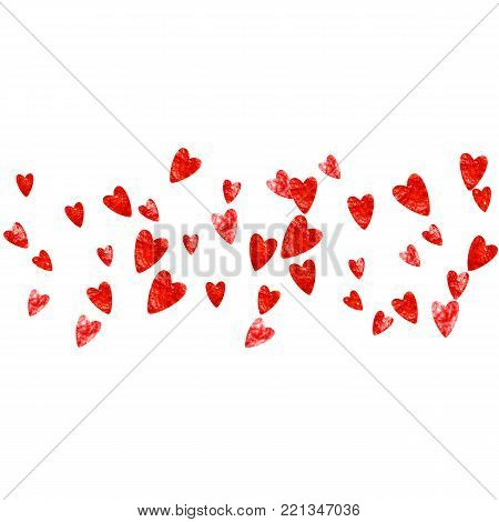 Valentines day border with red glitter hearts. February 14th day. Vector confetti for valentines day border template. Grunge hand drawn texture. Love theme for voucher, special business ad, banner.