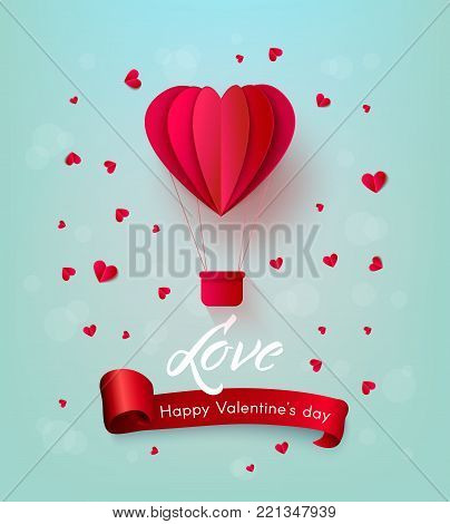Vector happy valentines day, love invitation card template with origami paper hot air balloon in heart shape, near small hearts around, red ribbon. Isolated holiday illustration on pink background.