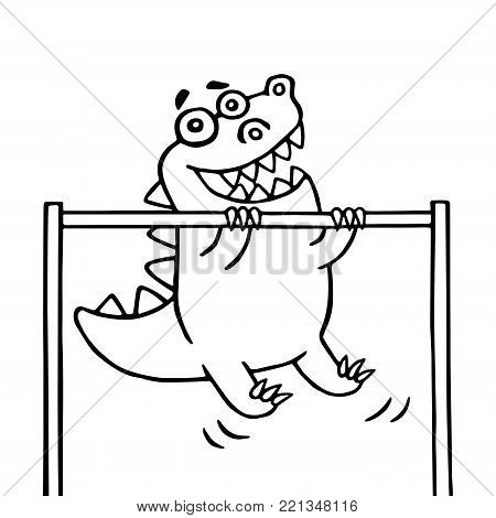 Cartoon dinosaur pulls up on the transponder. Sport and a healthy lifestyle. Vector illustration.