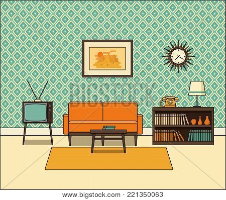 Retro room interior. Living room in line art. Linear vector illustration. House equipment. Home space with vintage sofa, TV set and telephone in flat design. Cartoon furniture.