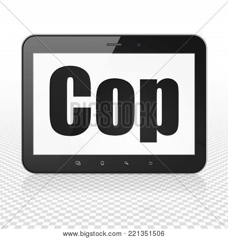 Law concept: Tablet Computer with  black text Cop on display,  Tag Cloud background, 3D rendering