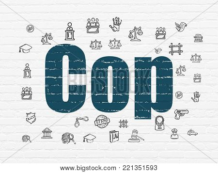Law concept: Painted blue text Cop on White Brick wall background with  Hand Drawn Law Icons