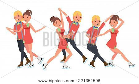 Pair Figure Skating Couple Boy And Girl Vector. Skate Male And Female. Training Ice Show. Boy And Girl In Pair. Isolated On White Cartoon Character Illustration