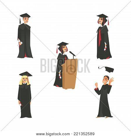 vector flat cartoon male, female college, university happy graduate character set. graduation gown, cap holding diploma speaking in microphone at tribune. Isolated illustration on a white background.