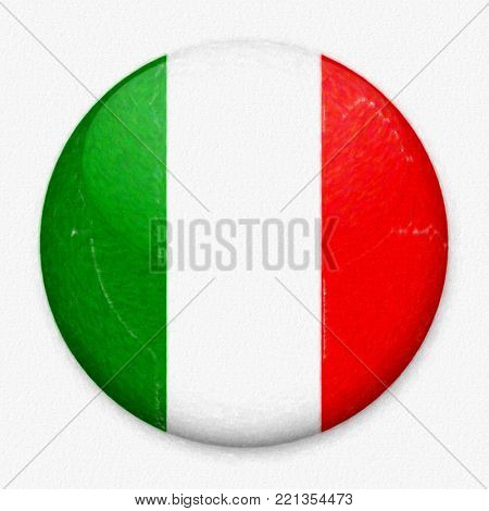 Watercolor flag of Italy in the form of a round button with a light glare and a shadow. The symbol of Independence Day, a souvenir, a button for switching the language on the site, an icon.