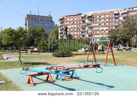 Playground In Serbia. Park In Vracar District Of Belgrade.