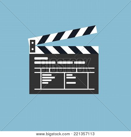 Simple clapper board icon in flat style. The concept of symbol video files. The open movie clapper board isolated from the background.