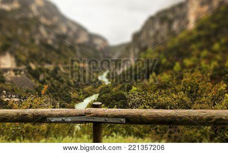 Grand Canyon de Verdon. Blurred background, tilt shift effect.