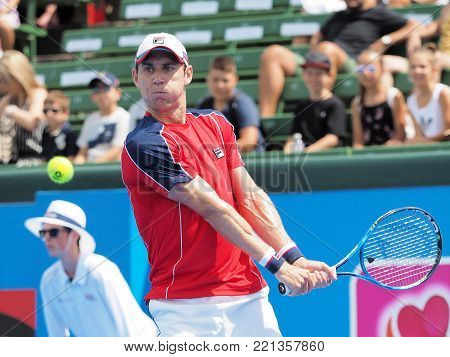 Melbourne, Australia - January 10, 2018: Tennis player Matthew Ebden  preparing for the Australian Open at the Kooyong Classic Exhibition tournament