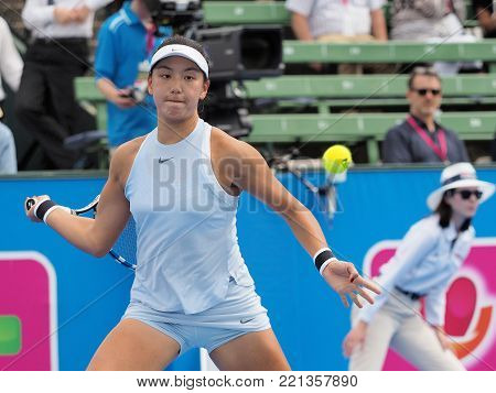 Melbourne, Australia - January 10, 2018: Tennis player Wang Xinyu  preparing for the Australian Open at the Kooyong Classic Exhibition tournament