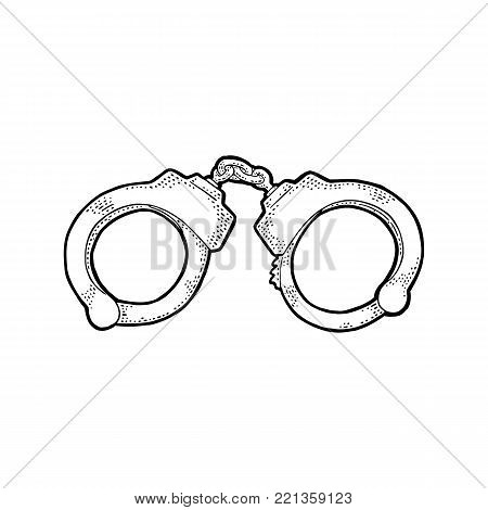 Handcuffs. Engraving vintage vector black illustration. Isolated on white background. Hand drawn design element for label and poster
