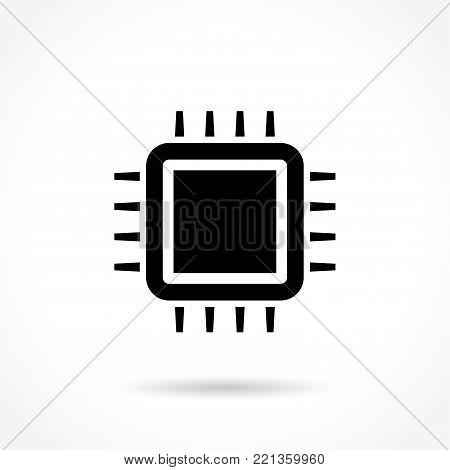 Illustration of cpu black icon on white background
